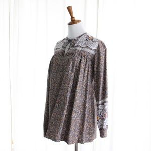 70s Vtg Maternity Peasant Top Keyhole Calico Lace